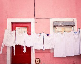 Hot Pink Door Prints, Lisbon Photography, Laundry, Pink Wall Art, Lisbon Door Prints, Pink Door Photos, Door Photograph, Pink Wall Decor