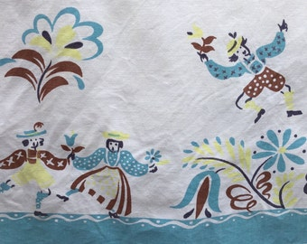 TABLECLOTH - FOLK dancers - TURQUOISE - brown - yellow - 52 x 63 - feathers - flowers