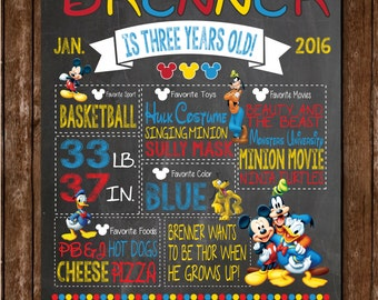 Mickey Mouse Birthday / Mickey Mouse Poster / Mickey and Friends / Mickey Mouse Club House / Chalkboard Poster