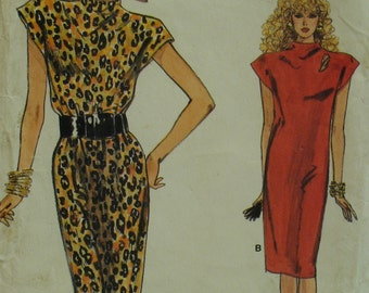 Slinky Knit Dress Pattern, 1980s, Straight, Raised Cap Sleeves, Semi-Fitted, Vogue No. 9899 UNCUT Size 12 14 16