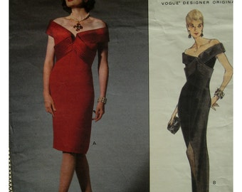 Bellville Sassoon Evening Gown Pattern, Off Shoulder, Fitted, Straight, Criss-Cross Bands, Lined, Front Slit, V-neck, Vogue No. 1222 Size 10