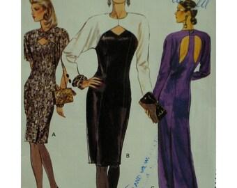 Keyhole Dress Pattern, Open Back, Evening Wear, Straight, Lined, Princess Seams, Long/Short Sleeves, Vogue No. 7918 UNCUT Size 14 16 18