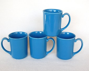 Set of 4 Vintage Corning Mugs COUNTRY VIOLETS Corning Stoneware Vibrant Blue Mugs
