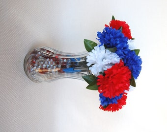 Set of 12 Red, White, and Blue Flower Pens  Carnations with BIC Pens Blue Ink One Dozen Carnation Flower Pens  Office Floral Anti-Theft Pens