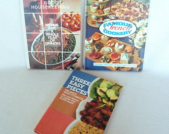 Set of 3 Vintage Cookbooks General Foods Three Easy Pieces, Good Housekeeping Menus for a Whole Year, Women's Day French Cookery From  CB351