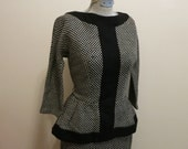 Sweater Dress black and white checker pencil skirt 1950s vintage peplum M