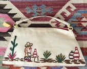 1940's Linen Cactus Embroidered Purse w/ Celluloid Zipper Swag Vintage Mexican Purse Soithwestern Bag by Maeberry Vintage