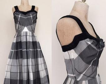 40% OFF 1950's Plaid Black + White Chiffon Vintage Party Dress Sz XS/S by Maeberry Vintage