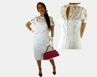 White Sheath Dress with Lace Cut Outs, Vintage 1960s, Marina McCoy, Fresh and Feminine, Size Small