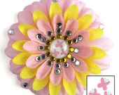 Four custom jeweled penny blossoms: pink and yellow