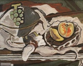 Mid Century Reproduction Painting of Georges Braque Still Life Painting, Fruit Dish and Fruit Basket 1928