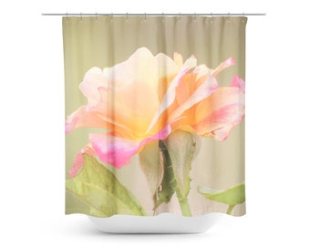 Floral Shower Curtain - Pink Orange - Floral Photography - Spring Home Decor - Shabby Chic Photo - Flower Bathroom Decor - Rose Photograph