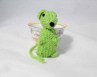 Hand Knit Mouse Plush. Lime Green Mouse. Woodland Toy. Pretend Play. Forest Friend. Desk Toy. Pocket Pal. Ready To Ship. Gift Under 10