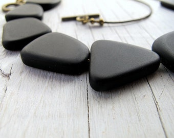 Modern Black Necklace, Asymmetrical Style, Matte Glass, Contemporary Look, Beaded Necklace, Bib Length, Floating Bead, Handmade Jewelry