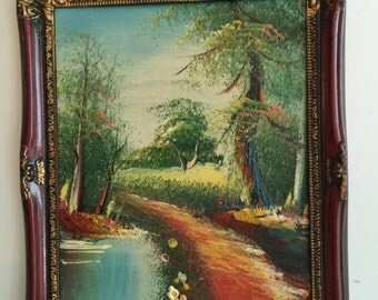 "Original Oil Painting on Hard Board/ Vintage Oil Painting/Framed Vintage Oil Painting colorful Scenery8""x6.5"""