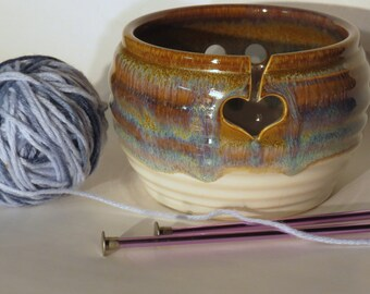 Yarn Bowl for knitting in Brown Wheel Thrown Pottery