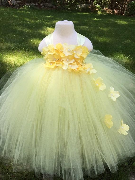 Light Yellow Flower Girl Tulle Dress Yellow Hydrangea Girls