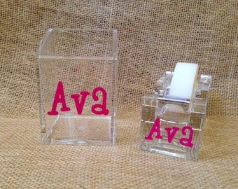 Monogram Tape Dispenser AND Pencil Cup - Acrylic Desk Accessories