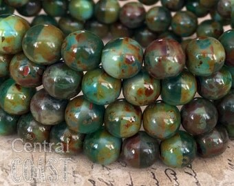 8mm Czech Glass Smooth Round Druk Bead (25) Transparent Green Opaque Emerald Heavy Brown Picasso - Earthy Rustic Boho - Central Coast Charms
