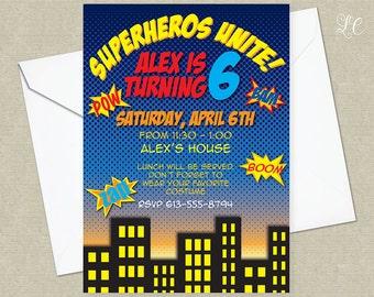 Boys Superhero Birthday Party Invitation - Superhero Party Invitation - Superhero Birthday Party Invitations