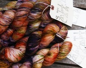 Smog - Hand Dyed Sock Yarn - MCN yarn - Superwash yarn - Mustard Green Purple - dyed by Stimpylab