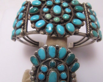 Navajo Turquoise in Sterling Bracelet and Ring Set