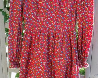 Red Flower Print Retro Frock/ Flower Print with Rickrack Dress/ Retro cotton dress/ Shabbyfab Funwear
