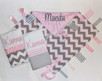 PERSONALIZED Baby Girl Chevron Ribbon Tag Sensory Blanket with Pacifier Clip and 2 Burp Cloths - Light Pink Minky