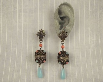 "Big Heavy Vintage Jeweled Bauble Dangle Earrings 3.25"", Dangle Clip On Earring, Simulated Coral, Imitation Turquoise, Ornate Bauble Jewelry"
