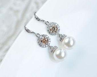 Bridal Earrings, Bridesmaids Earrings, Cubic Zirconia Champagne Swarovski Pearls Earrings, White Swarovski Pearls Earrings, Wedding Jewellry