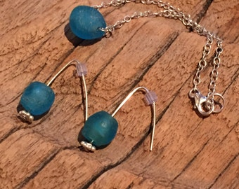 mission blue recycled glass bracelet & earring set