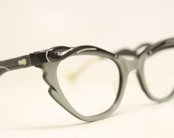 Unused Cat Eye Glasses Gray Black Combination vintage cateye frames NOS