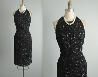 50's Sequin Dress // Vintage 1950's Black Sequined Marilyn Monroe Halter Cocktail Party Wiggle Dress S