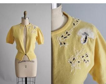 STOREWIDE SALE 50's Cashmere Cardigan // Vintage 1950's Beaded Dalton Cashmere Floral Cardigan Sweater XS