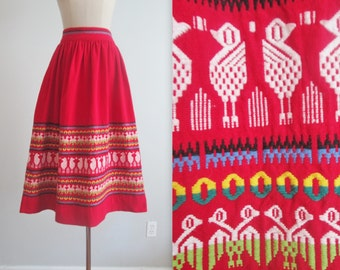 50's Embroidered Skirt // Vintage 1950's Guatemalan Red Bird Cotton Full Skirt S