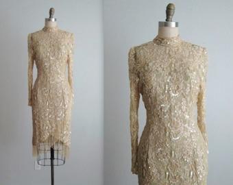 Lillie Rubin Beaded Dress // Vintage 1980's Lillie Rubin Beaded Cocktail Party Trophy Wiggle Dress S M