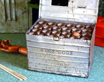 Antique Egg Shipping Crate Mailer (6 Dozen!): 1920s Galvanized Steel Chicken Farm / Ranch Box -- Rustic Divided Industrial Storage Case