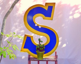 Vintage Marquee Sign Letter Capital 'S': Very Large Blue & Yellow Metal Wall Hanging Initial -- Industrial Neon Channel Advertising Salvage