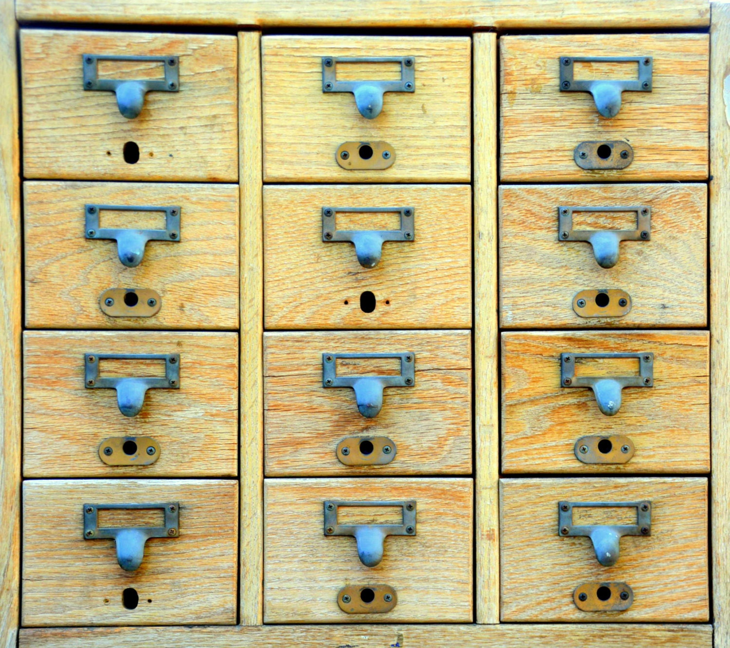 vintage blonde library card catalog filing cabinet 12 drawer wood storage organizer cards blonde wood office