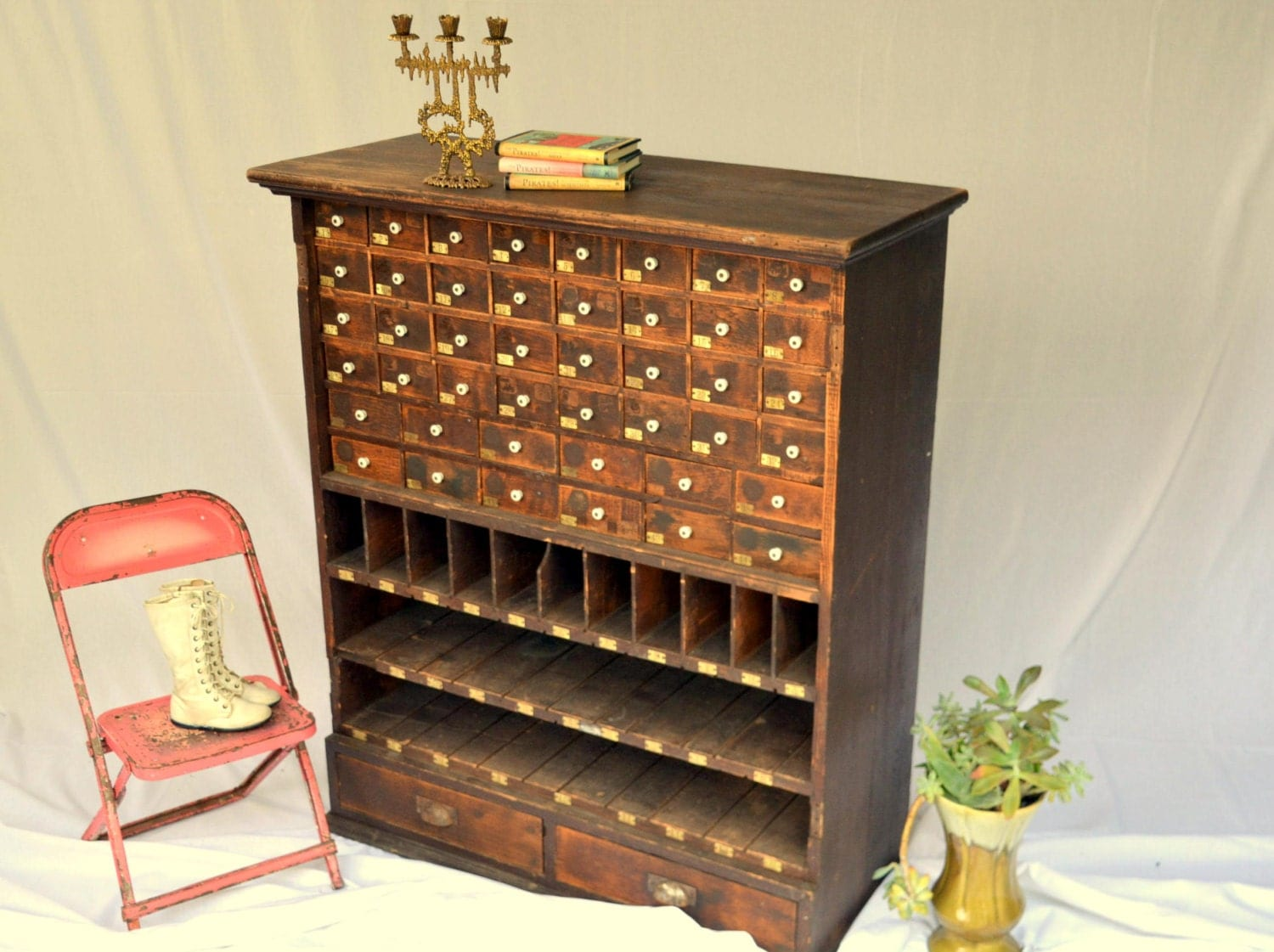 Antique Apothecary Cabinet Rustic Wooden Parts Bin Organizer