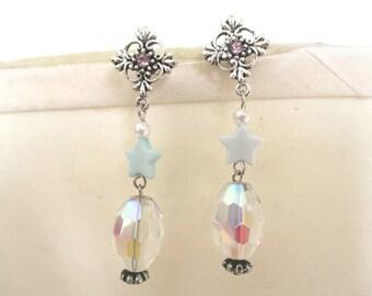 Magical Girl Snowflake & Star Earrings - Iridescent earrings