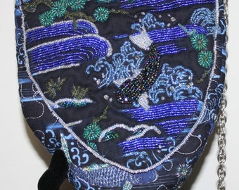 Hand Beaded Purse Koi in Blue