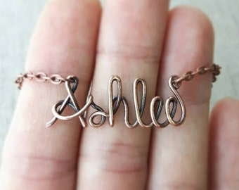 Copper Name Necklace,  Oxidized Copper Personalized Name Necklace, Name Jewelry, Personalized Jewelry Gifts, Name Gift, Antique Copper