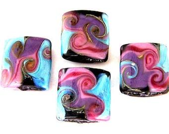 4 turquoise lampwork glass beads, purple, mauve, black