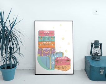 Typography Art Print - In My Suitcase - sweet, whimsical, colorful vintage style suitcase art for travel and long distance relationships