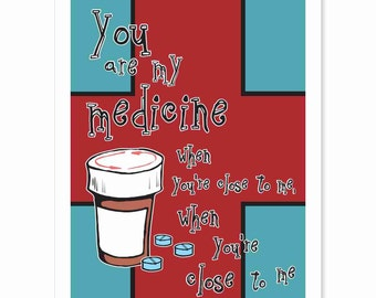 Typography Art Print - You Are My Medicine v2 - Gorillaz - red turquoise white black brown prescription bottle love song happy pills