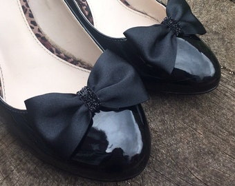 Black Shoe Clips satin bow Clips with a sparkle black centre. Clips For Your Shoes by Seriously Sassyx