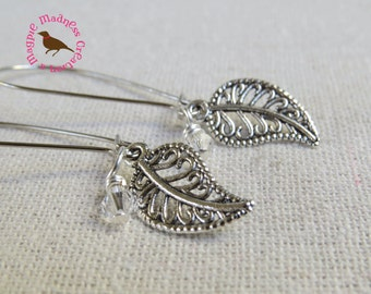 Silver Leaf Dangle Earrings, Steampunk Leaf Earrings, Long Leaf Earrings, Kidney Wire Leaf Earrings, by Magpie Madness for Etsy