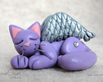 Sleeping Angel Kitty - A Lavender Cat with Crystal