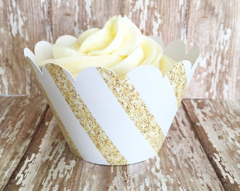 gold stripe cupcake wrappers, gold and white striped cupcake wrappers, wedding cupcake wrappers, set of 24
